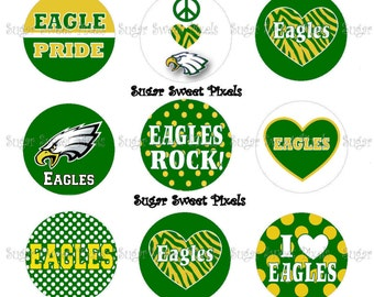 INSTANT DOWNLOAD Green Gold  Eagles School Mascot 1 inch Circle Bottlecap Images 4x6 sheet