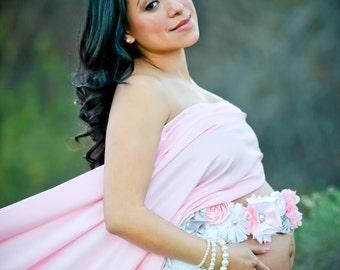 Pink Gray White Elegant Vintage Maternity Sash Newborn Photo Prop Baby Girl  Belly Band Baby Shower