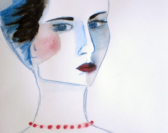 Woman - Original Illustration - Color Pencil on Paper - Woman Portrait - Colored Drawing