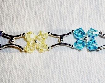 """Handmade STERLING & CRYSTAL BRACELET 2, Floral Pattern, All Swarovski  - """"Cottage Garden"""" - Larger 8.25"""" Size, Shimmering Chain Of Posies"""