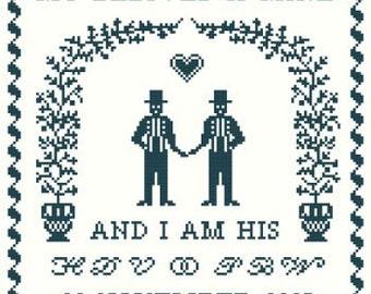 My Beloved is Mine Wedding Sampler Cross Stitch Pattern PDF - Groom and Groom