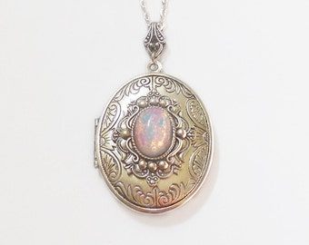 Silver Locket  necklace. Pink  Fire Opal   Necklace--photo locket .opal locket-Valentines day.gift for her-opal necklace.silver locket