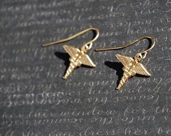 Nurse Doctor Caduceus Earrings -- Brass Caduceus, Gold