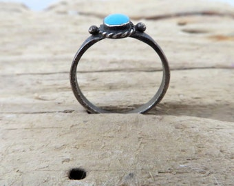 Vintage Turquoise Ring Navjo Sterling Silver Southwestern