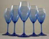 """Wine Glass 6 fl. oz. Blown Blue Cobalt  Morgantown Glassware Stands 6 1/2"""""""