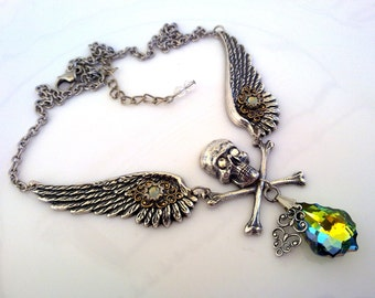 Gothic Swarovski Necklace Angel Wings Necklace Skull Necklace Sahara Crystal Necklace Victorian Gothic Jewelry