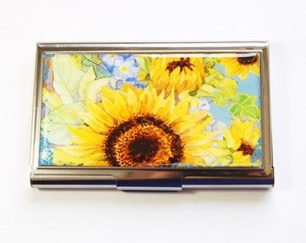Business Card Case, Sunflowers, Card case, business card holder, Sunflower Card Case, Floral, Flower Card Case (2973)