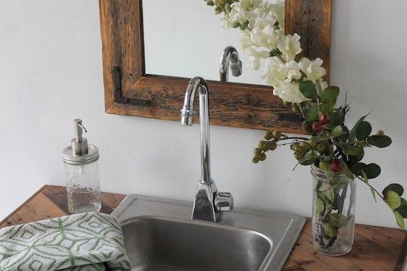 Reclaimed Wood Mirror 18x24 Bathroom Mirror By HurdandHoney