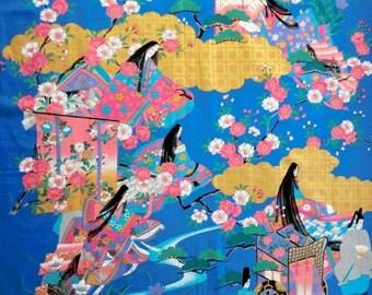 japanese cotton fabric kimono panel, Japanese kimono fabric, wall decoration, quilt fabric, japanese fabric, yukata fabric