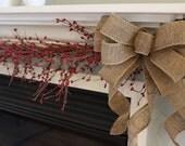 mantel bows, Christmas bow, burlap decor, rustic bow, mantel decor, Etsy, Christmas mantel, rustic, country, mantel decorations