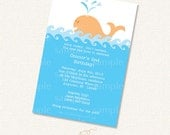 Whale Invitation Printable Party Kit SALE Blue Orange for Baby Shower or Birthday Party instant download editable pdf customize diy