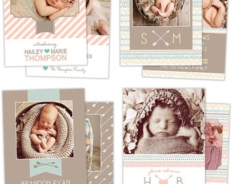 Birth Announcement Template for Photographers Photo Card Template Photography Birth Announcement Photoshop Card Template Bundle - BA5255