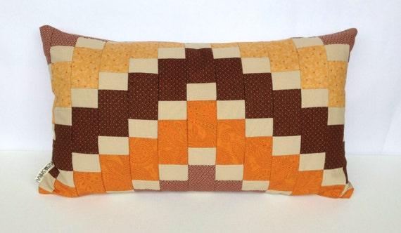 Mosaic Cushion Cover Patchwork modern contemporary retro warm rich rustic spice natural Autumn Fall Halloween pumpkin orange brown gold