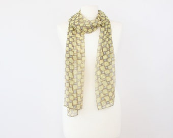 Spring/Summer Yellow Brown Geometric Print Lightweight Chiffon Long Scarf