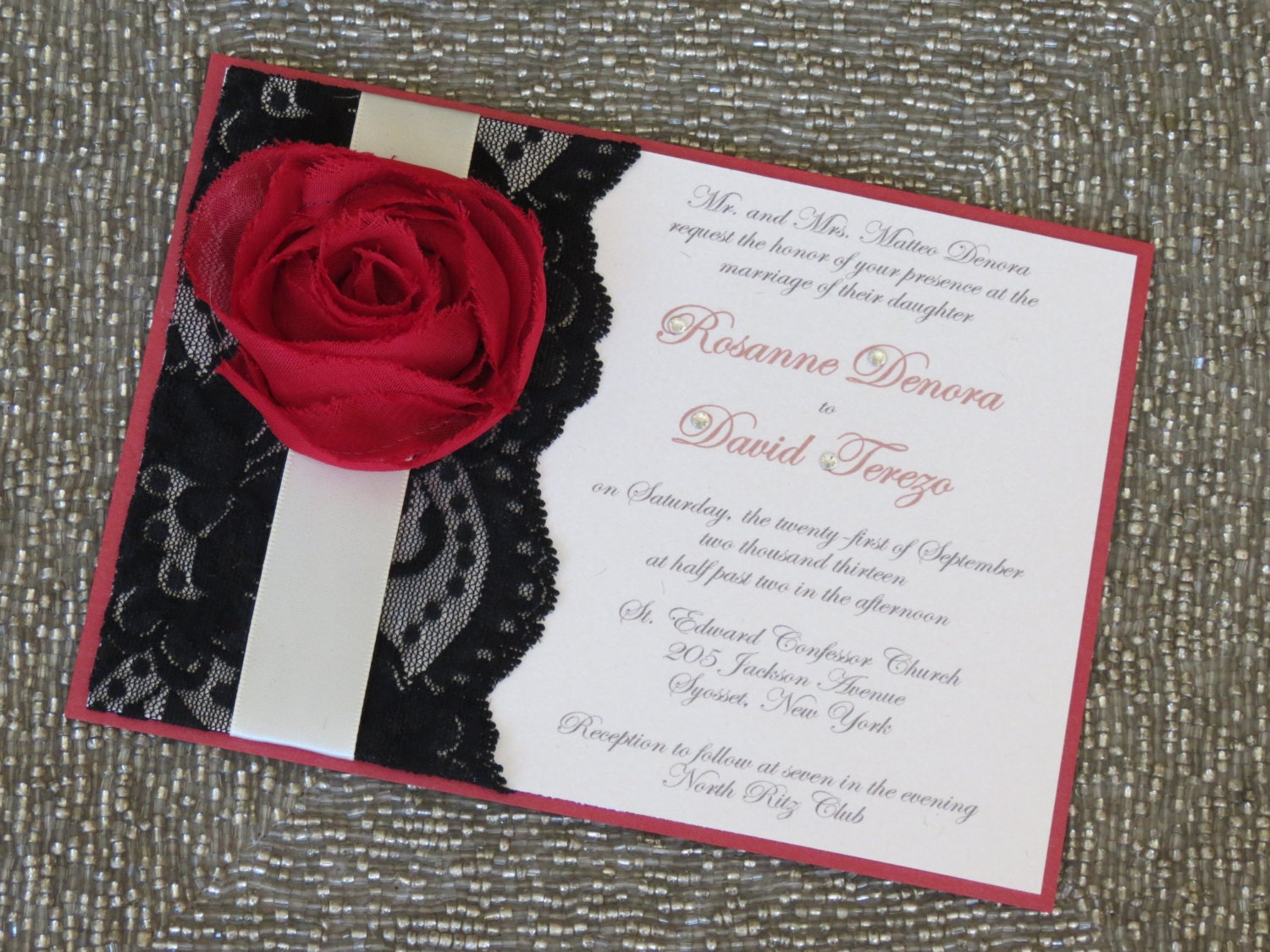 LEXY Red Black and White Wedding Invitations Customizable