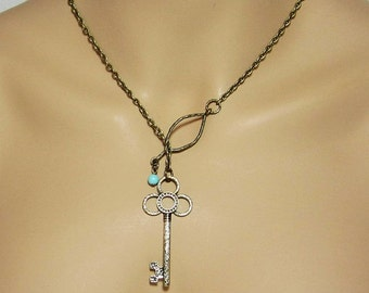 Lariat Turquoise and Key Necklace Simple Jewelry Minimalist Y Necklace