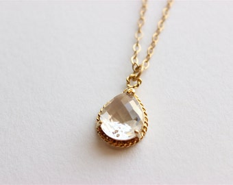 """Gold Necklace - Bridal Necklace - Long Necklace - 24"""" - Glass Stone Pendant on Matte Gold Chain Necklace"""