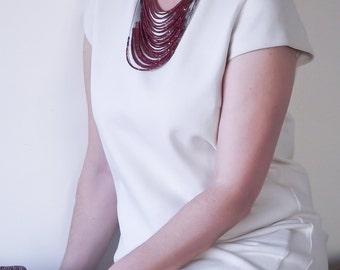 Multistrand Necklace, Beaded Necklace, Boho Strand Necklace, Layered Collar, Statement Necklace, Shiny Bib Necklace, Burgundy Collar