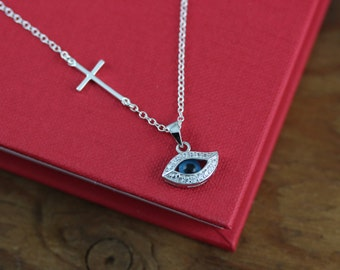 Cross and evil eye necklace, side Cross necklace, evil eye necklace - EVIL eye Jewelry,  Sterling Silver CZ, Protection, Horizontal Cross
