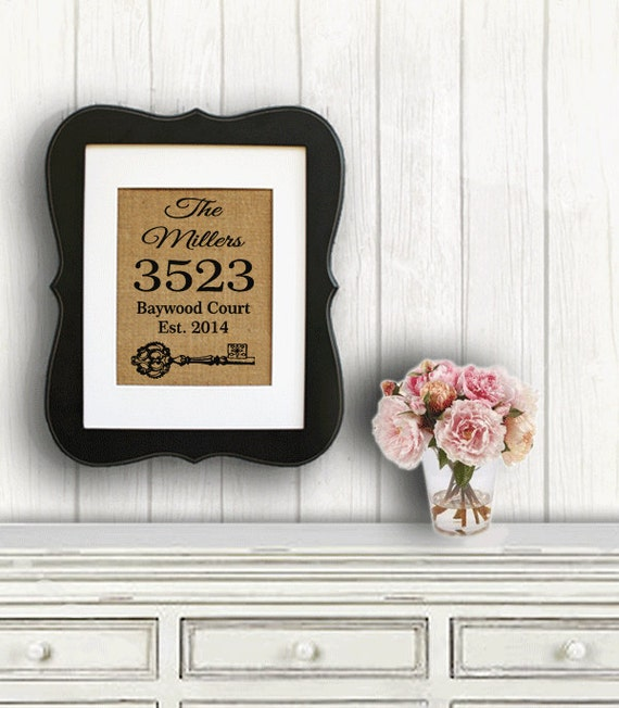 Personalized Housewarming Gift On Burlap Home Address Sign