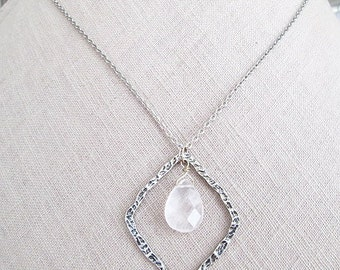 Womens necklace, Rustic silver clear crystal charm pendant necklaces, Unique stylish birthday gifts, High-end stone Holiday Jewelry gifts