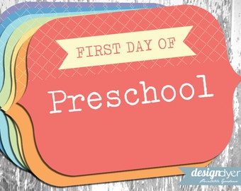 Printable First Day Of School Signs Pre-K through Grade 12 Rainbow Colors - INSTANT DOWNLOAD