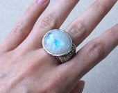 Faceted Rainbow Moonstone Textured Sterling Silver Ring