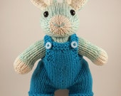 Knit Bunny Toy - Organic Cotton Hand Knit Spearmint Green Boy Bunny Stuffed Animal Plush Toy in Blue Overalls