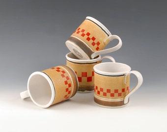 Porcelain Tea Mugs - Art Deco checker board graphic - Tin Cup Design