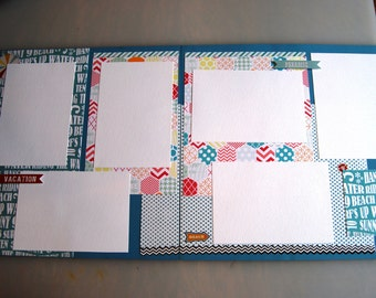 """Handmade Scapbook Pages - Vacation Paradise - Double Page 12"""" x 12"""" Premade Pages, Ready to Ship, Display your Vacation Family Memories"""