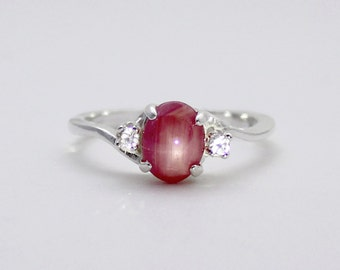 Natural Star Ruby Ring Sterling Silver / Star Ruby Ring with Sapphire Accents