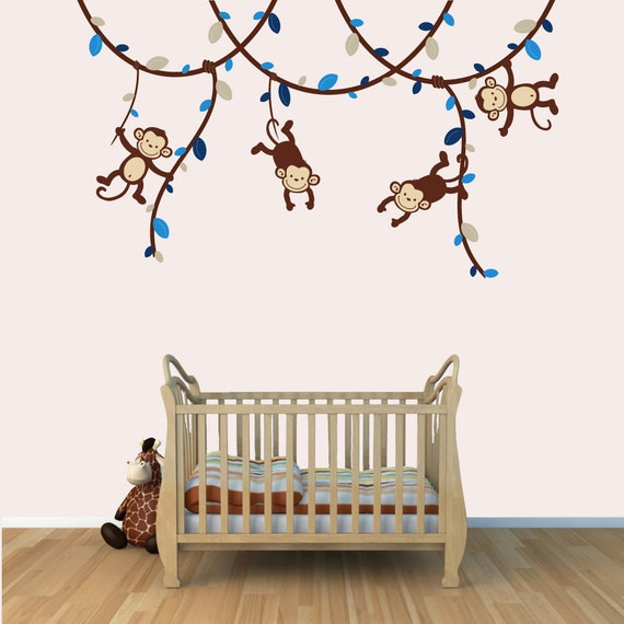 nursery wall decals monkey wall decals decals for kids rooms. Black Bedroom Furniture Sets. Home Design Ideas