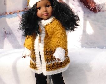 "Hand knit 3-piece Cape set fits American Girl, & 18"" Madame Alexander Dolls by Debonair Designs"