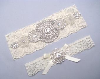 Rhinestone Pearl Bridal Garter Set, Crystal Lace Garter, Ivory Garter, White Garter,  Wedding Garter, Plus Size or Petite Garter Belt