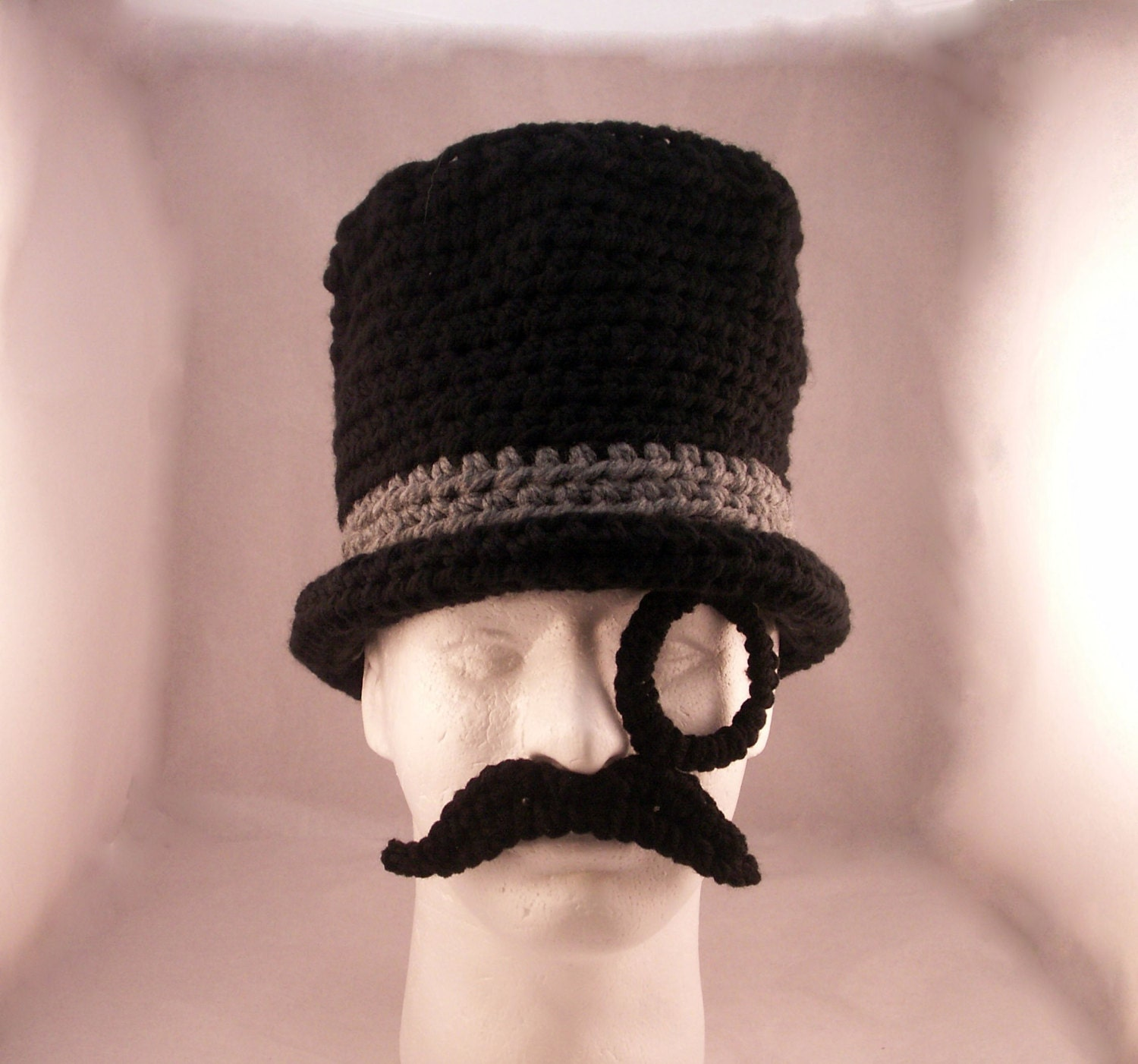 Monocle Mustache and Top Hat / Like a Sir crochet size