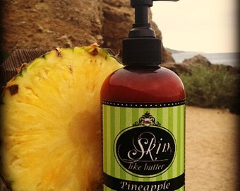 Vegan Body Lotion // PINEAPPLE // Thick like body butter // Available in an 8 oz bottle or jar // non-greasy