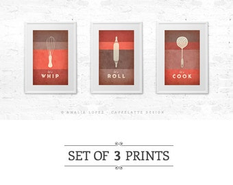Captivating Red Kitchen Print Coral Red Kitchen Art Decor Red Kitchen Poster