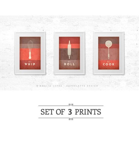 set di 3 stampe cucina rossa stampa corallo rosso cucina arte arredamento cucina rossa poster