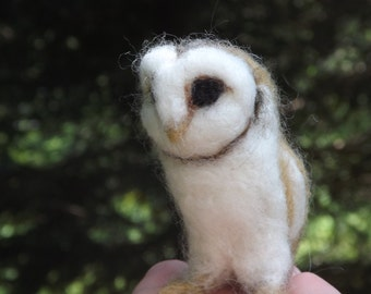 White, Black, or Buff Miniature Needle Felted Barn Owl You Choose