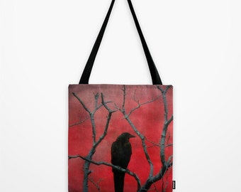 Blackbird Tote, Raven Art Satchel, Nature Art, Grocery Carry All, Eco-Friendly Shopping Bag, Red And Black - Red Vision Tote