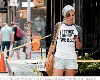 lettuce turnip the beet ® trademark brand OFFICIAL SITE - grey baseball jersey with classic logo - as seen on MTV's Snack-Off - raglan shirt