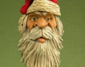 Hand Carved Wood Holiday Santa Christmas  Ornament