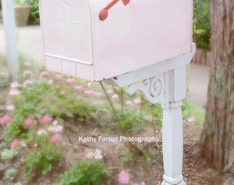 Pink Mailbox Photography, Shabby Chic Pink Home Decor, Baby Girl Nursery Decor, Cottage Pink Mailbox, Shabby Chic Pink Mailbox Photography