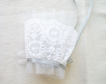 Wedding Cuff Gauntlet in Shimmering Grey Tulle and White Lace