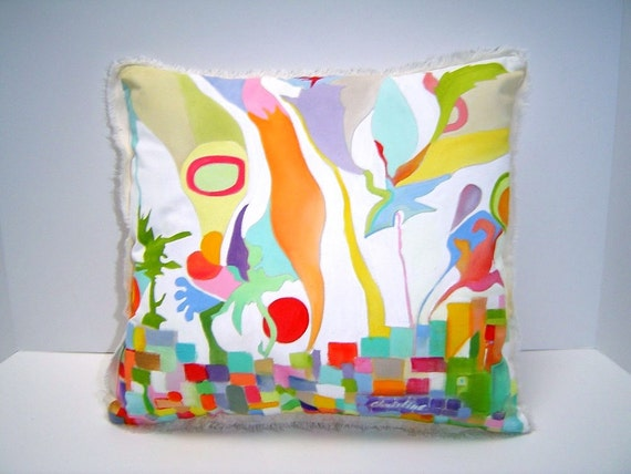Contemporary Abstract Pillow - Hand Painted 14x15 Fringe Edging Great Art Expressionism Colorful Home Accent