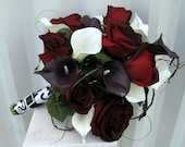 Black baccara rose Wedding bouquet white plum black calla lily Bridal bouquet silk wedding flowers