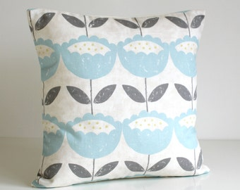 16x16 cushion cover, Flower Pillow Cover, Floral Cushion Cover, Flower Pillow Sham, 16 Inch, pillow covers - Brush Flowers Powder Blue