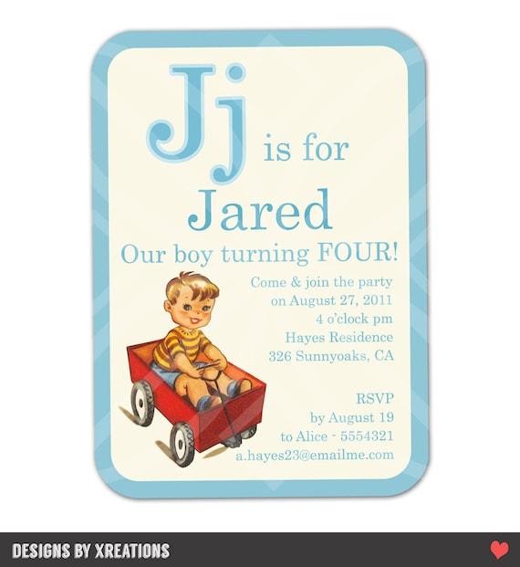ABC Flashcard Themed Invitation, Alphabet Invitation, Birthday, baby shower invitation, I will customize for you, Print-your-own
