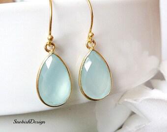Aquamarine Earrings, Minimalist Earrings, Drop Earrings, Gemstone Earrings, Minimal Earrings, Dangle earrings, Gifts for Her, Gold Earrings,