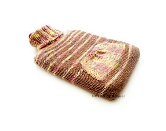 Beige and Yellow Cable Knit Hot-water Bottle Cover